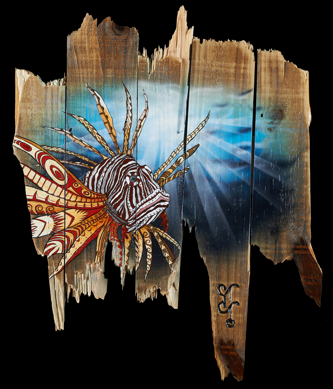 """Lionfish: Pest of the Reef""  24"" x 48""  Capturing the FL Reef's current pest.  Created for FWC Fundraiser hosted by Guy Harvey Magazine."