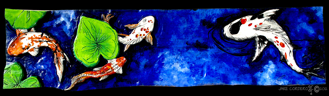 """Koi Morning""  34"" x 9"" x 1""  Beauty of Mother Nature & her children that provide a peaceful oasis for us."