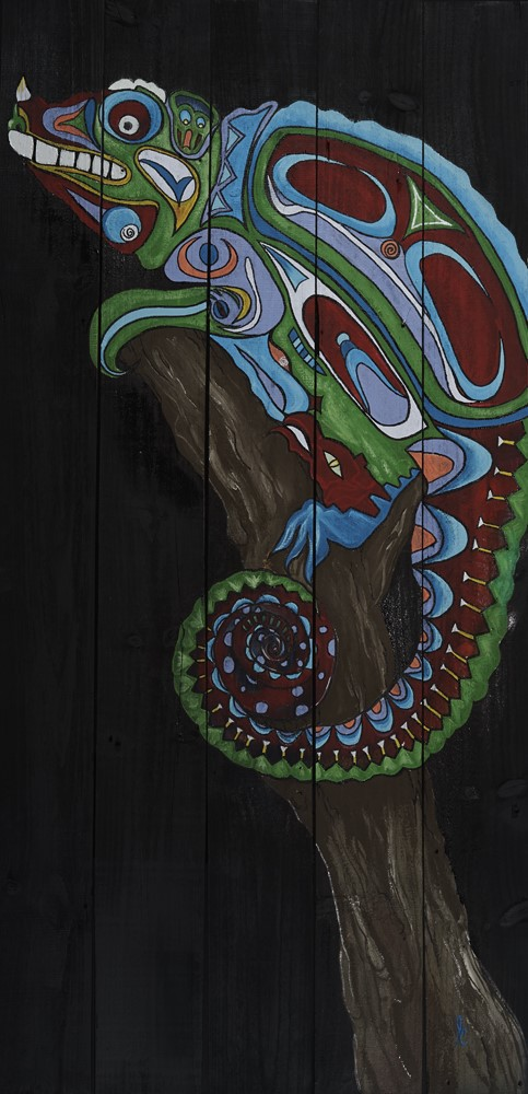 """Indigenous Chameleon""  58"" x 28""  My love for cultures around the world.  Depicting the ability to blend in with anything, anywhere."