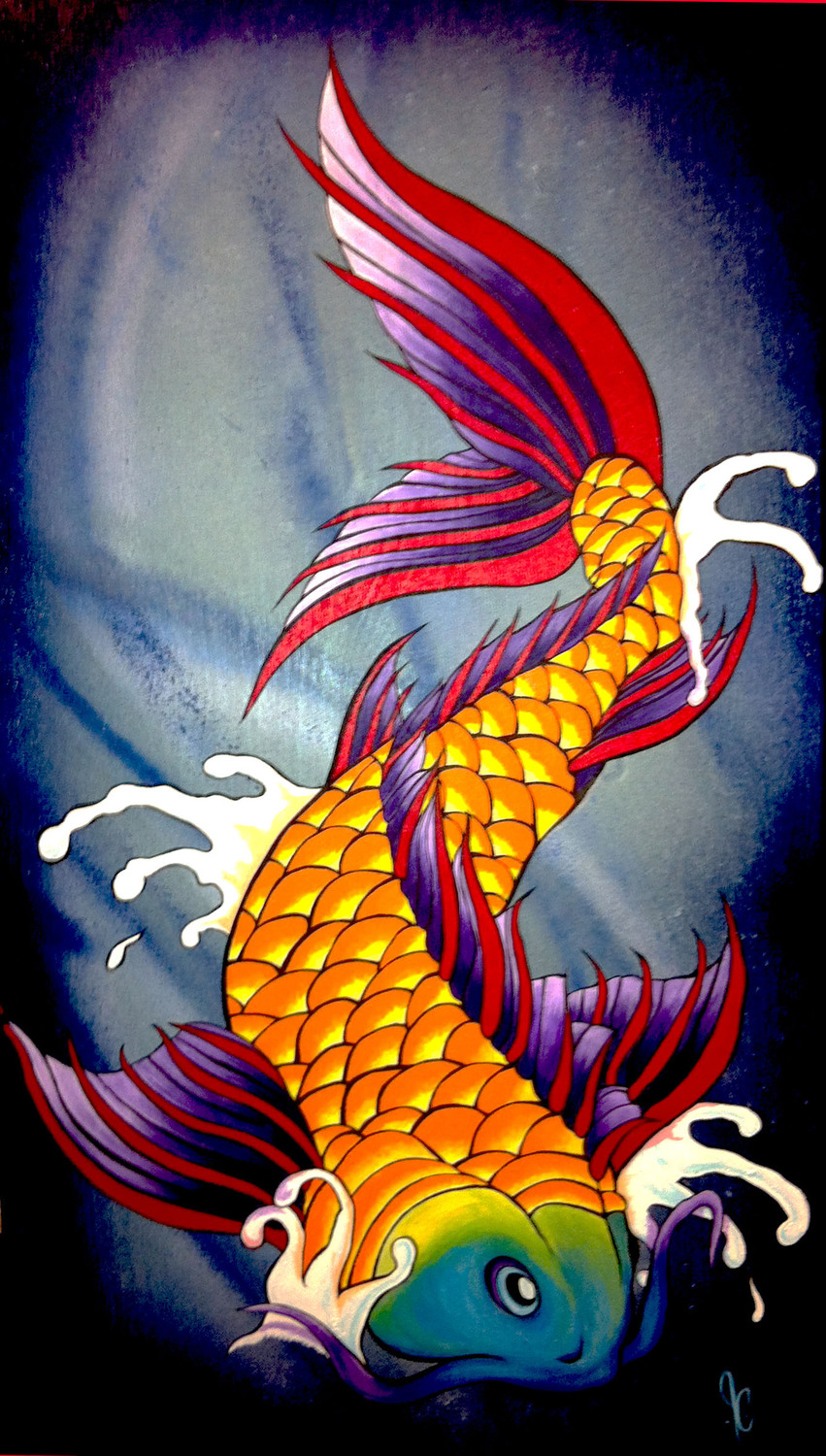 """Koi of Omaha""  24"" x 13""  Depicting beauty and strength of the Koi."