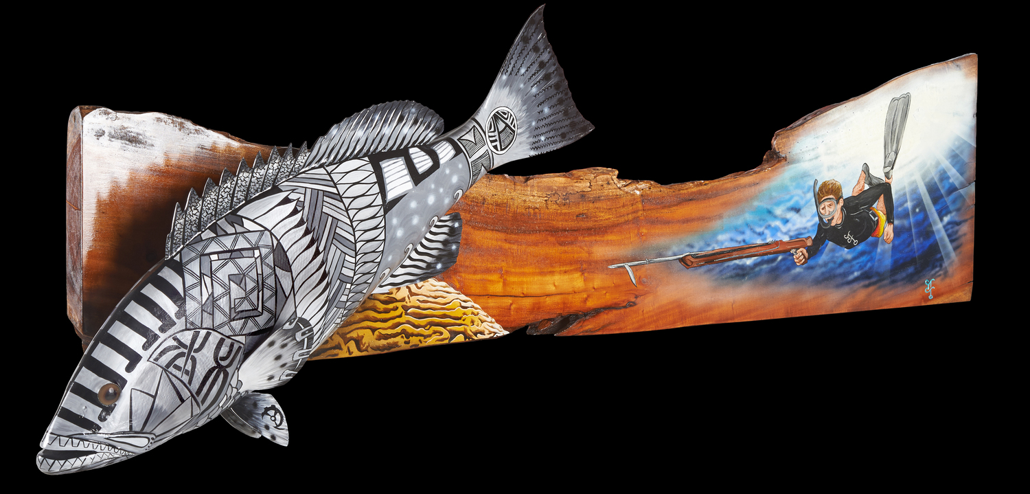 """Black Grouper Prowl""  60"" x 15"" x 5""  Retro depiction of our spearfishing adventures hunting the extremely smart & difficult catch."