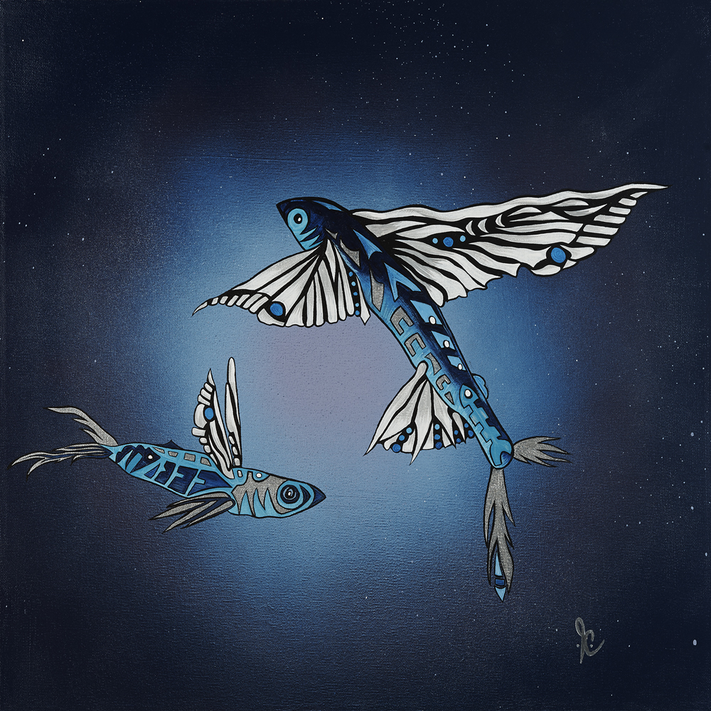 """Flying Fish Dwelling""  20"" x 20""  Early morning views of our beautiful flying creatures avoiding the boat in the deep blue."