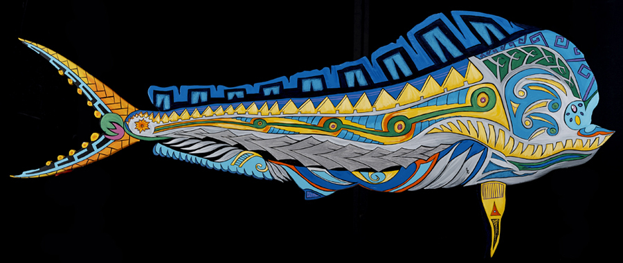 """Mahi Vitality""  20"" x 48""  Depiction of the deep blue's most sought game."
