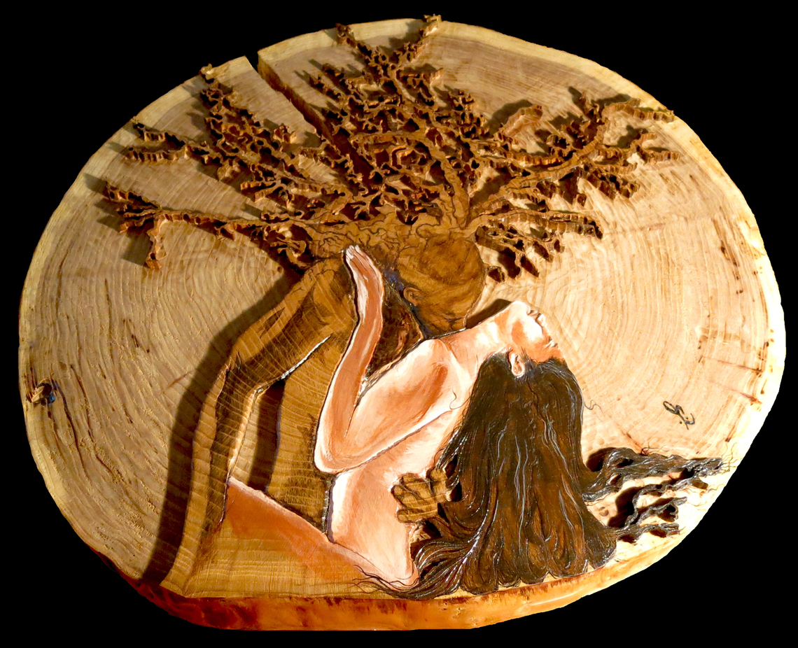 """Nature of Passion""  24"" diameter  A natural passion a man has for his wife when grasping that matrimony & caressing it.  This slab was the base of their wedding cake.  The vibe & unconditional love they express for each other inspired my admiration for their organic love."