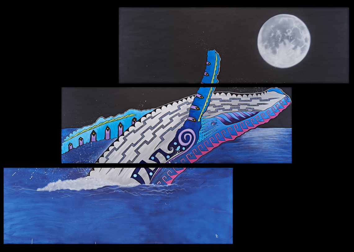 """Humpback Force""  6' x 9'  Graceful humpback displaying it's powerful force."
